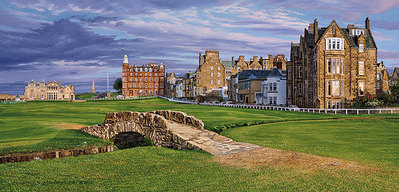 The Swilcan Bridge – The 18th Hole Of The Old Course, St. Andrews Links- Signed By The Artist								 – Canvas Giclee – Limited Edition – 500 S/N – 17 x 36
