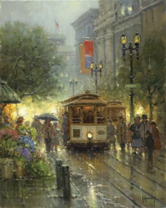 Cable Cars On Powell Street- Signed By The Artist – CanvasGiclee – Limited Edition – 250S/N – 20x16