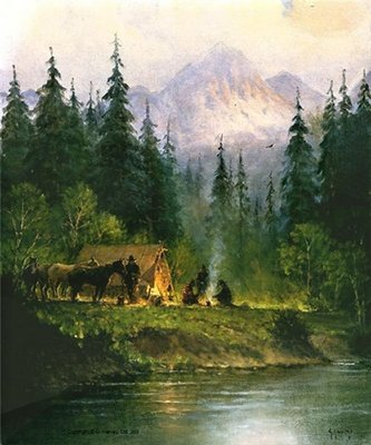 Camp In The Tetons- Signed By The Artist – CanvasLithograph – Limited Edition – 495S/N – 24x20