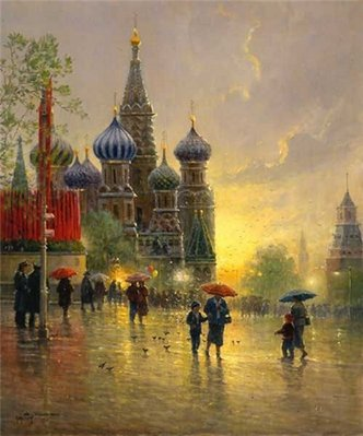 Light Rain On Red Square- Signed By The Artist – PaperSerigraph – Limited Edition – 550S/N – 31x26