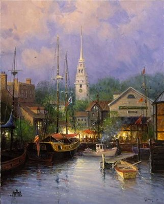 New England Harbor- Signed By The Artist – PaperSerigraph – Limited Edition – 550S/N – 35x28