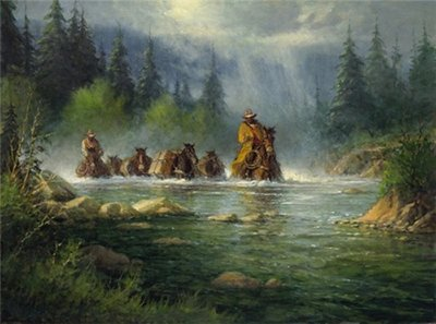 Spring River Crossing- Signed By The Artist – CanvasLithograph – Limited Edition – 950S/N – 25 1/2x34