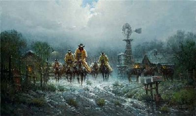 Where Cowhands Don't Change- Signed By The Artist								 – Canvas Giclee – Limited Edition – 395 S/N – 24 x 40