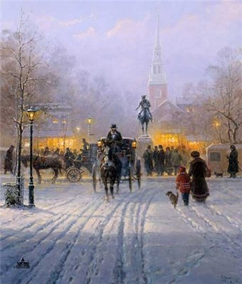 Winter Evening In Old Boston- Signed By The Artist								 – Paper Lithograph – Limited Edition – 2500 S/N – 27 x 22 1/2