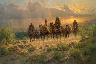 Cowhands Of The West- Signed By The Artist								 – Canvas Giclee 								 – 3-Dimensional 								 – 50 A/P 								 –  								24 x 36