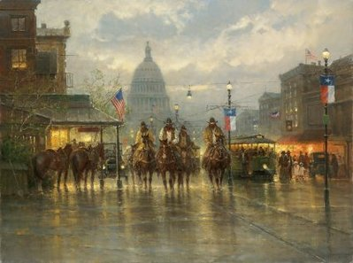 Cowhands On The Avenue- Signed By The Artist								 – Canvas Giclee 								 – Limited Edition 								 – 50 A/P 								 –  								30 x 40								 								 –