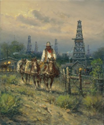 Oil Field Cowhand- Signed By The Artist								 – Canvas Giclee – Limited Edition – 350 S/N – 24 x 20