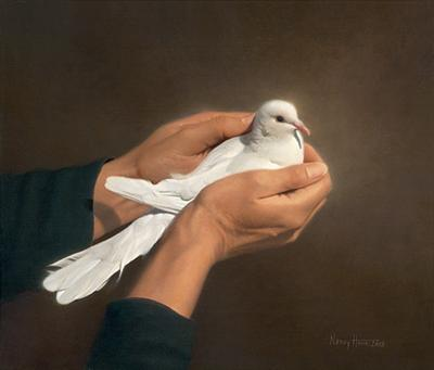 Holding Peace- Signed By The Artist – CanvasLithograph  – Limited Edition  – 75S/N  –  12x14