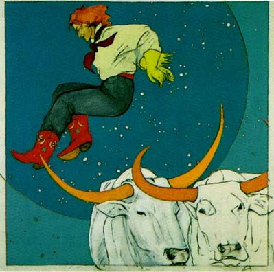 And The Cowgirl Jumped Over The Moon- Signed By The Artist								 – Paper Lithograph – Limited Edition – 1000 S/N – 22 x 22