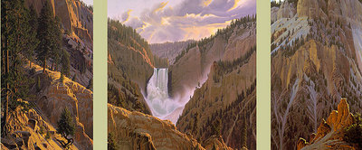 The Wyoming Suite – Lower Falls At Yellowstone (3-Piece Set)- Signed By The Artist								 – Canvas Giclee – Limited Edition – 550 S/N – 24 x 54