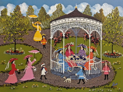 Teatime In The Gazebo- Signed By The Artist – PaperLithograph  – Limited Edition  – 950S/N  –  5 7/8x7 3/4