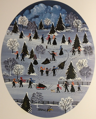 Cutting The Evergreen Trees- Signed By The Artist – PaperLithograph  – Limited Edition  – 950S/N  –  9 3/4x7 3/4