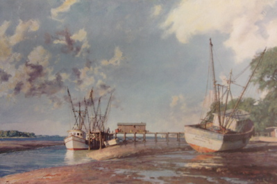 Hilton Head Island, Shrimpboats At Skull Creek- Signed By The Artist								 – Paper Lithograph – Limited Edition – 850 S/N – 15 x 22 1/2