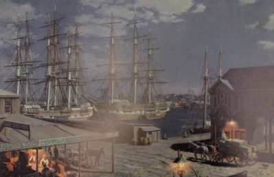 New York, The Black Ball Packets Seen Beyond The Fulton Fish Market In 1865- Signed By The Artist – PaperLithograph – Limited Edition – 750S/N – 12x18 1/4