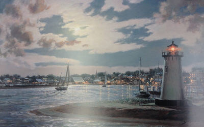Edgartown Harbor Under A Full Moon- Signed By The Artist								 – Paper Lithograph – Limited Edition – 450 S/N – 13 x 20 3/8 –
