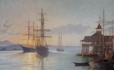 Newport Beach, The Pavilion Overlooking The Harbor At Sunrise Ca. 1910- Signed By The Artist – PaperLithograph – Limited Edition – 850S/N – 17 1/4x28