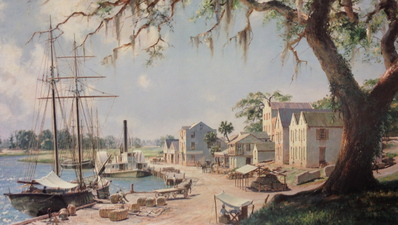 On The Georgia Tidewater Loading Sea Island Cotton At Darien, C. 1862- Signed By The Artist – PaperLithograph – Limited Edition – 500S/N – 17 3/8x30