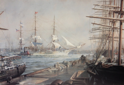 """New York, The """"Abner Coburn"""" Leaving The East River For San Francisco In 1886- Signed By The Artist – PaperLithograph – Limited Edition – 750S/N – 20 1/4x29"""