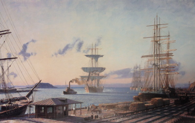 "San Pedro, The Bark ""Vidette"" Towing Into Port At Sunrise In 1890- Signed By The Artist								 – Paper Lithograph – Limited Edition – 750 S/N – 19 3/4 x 31"