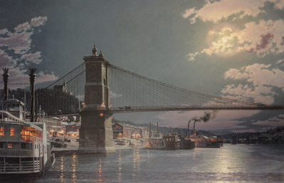 Cincinnati, The Public Landing By Moonlight In 1884- Signed By The Artist								 – Paper Lithograph – Limited Edition – 750 S/N – 20 1/2 x 31
