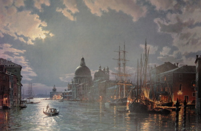 Venice, Moonlight Over The Grand Canal In 1870- Signed By The Artist – PaperLithograph – Limited Edition – 850S/N – 20 3/8x30 5/8