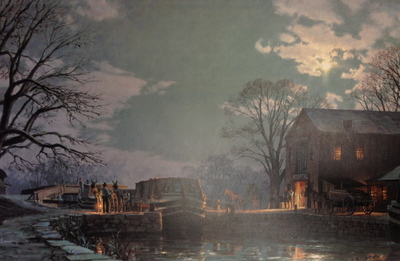 Georgetown, Preparing For A Moonlight Departure On The Chesapeake And Ohio Canal C. 1900- Signed By The Artist								 – Paper Lithograph – Limited Edition – 850 S/N – 19 x 29