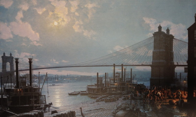 Cincinnati, Moonlight On The Ohio From The Public Landing In 1880- Signed By The Artist								 – Paper Lithograph – Limited Edition – 750 S/N – 19 1/2 x 32 1/8