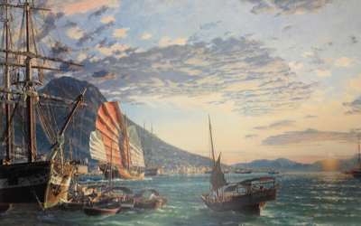 Hong Kong, A View Of The Harbor And Victoria Peak At Sunset In 1870- Signed By The Artist								 – Paper Lithograph – Limited Edition – 950 S/N – 20 x 32