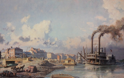 "Louisville, The People's Line Packet ""Wild Wagoner"" Arriving At The Levee In 1868- Signed By The Artist								 – Paper Lithograph – Limited Edition – 750 S/N – 18 1/2 x 28 3/4"