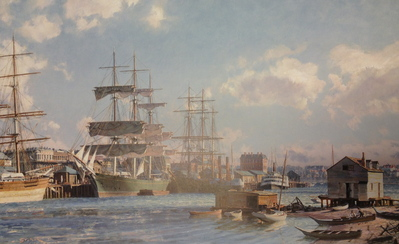 "Victoria, The Celebrated Clipper Ship ""Thermopylae"" Alongside Main Wharf, June, 1891- Signed By The Artist								 – Paper Lithograph – Limited Edition – 850 S/N – 18 1/2 x 29 5/8"