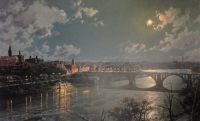 Georgetown, Moonlight On Potomac River- Signed By The Artist								 – Paper Lithograph – Limited Edition – 950 S/N – 17 1/4 x 28 –