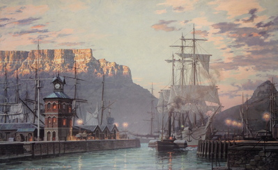 "Cape Town, The Bark ""William Hales"" Towing Out Past The Clock Tower At Dawn In 1886- Signed By The Artist								 – Paper Lithograph – Limited Edition – 950 S/N – 19 1/2 x 31 1/4"
