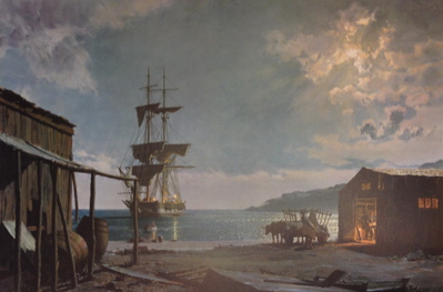 San Diego, The Brig Pilgrim Loading Hides At La Playa, Pt. Loma In March 1835- Signed By The Artist – PaperLithograph – Limited Edition – 750S/N – 17x25 3/8