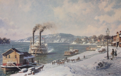 "Marietta, The Mail Line Packet ""Courier"" Arriving At The Wharfboat On The Ohio In 1875- Signed By The Artist								 – Paper Lithograph – Limited Edition – 850 S/N – 16 5/8 x 26 1/4"