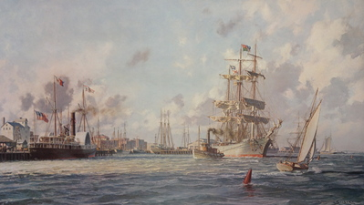 "Galveston, The Bark ""Elissa"" Leaving Port In 1884- Signed By The Artist								 – Paper Lithograph – Limited Edition – 750 S/N – 18 3/4 x 32 3/8"