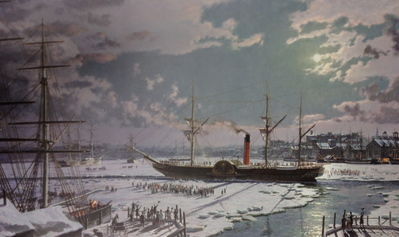 "Boston, R.M.S. ""Brittannia"" Departing After Being Freed From The Ice-bound Harbor, February, 1844- Signed By The Artist								 – Paper Lithograph – Limited Edition – 850 S/N – 20 x 33"