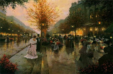 An Evening Out – Paris, 1900- Signed By The Artist								 – Canvas Lithograph 								 – Limited Edition 								 – 495 S/N 								 –  								20 x 30