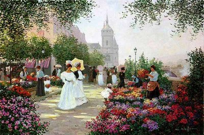 Flower Market Along The Seine- Signed By The Artist								 – Paper Lithograph – Limited Edition – 750 S/N – 20 x 30