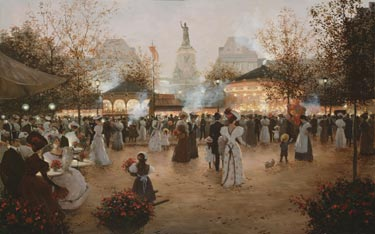 La Fete A Place De La Republique- Signed By The Artist								 – Canvas Lithograph – Limited Edition – 495 S/N – 20 x 30