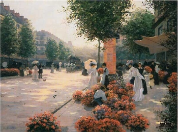 Morning Flower Market, Paris- Signed By The Artist								 – Canvas Lithograph – Limited Edition – 495 S/N – 22 x 28 –