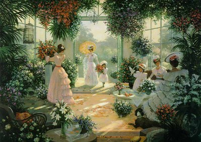 Tea In The Conservatory- Signed By The Artist – CanvasLithograph – Limited Edition – 495S/N – 22x29 1/4