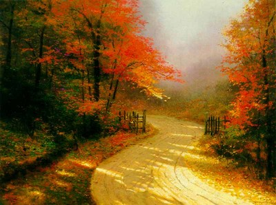 Autumn Lane (20 X 24 Canvas)- Signed By The Artist								 – Canvas Lithograph – Limited Edition – 2950 S/N – 20 x 24