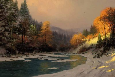 Autumn Snow (24 X 36 Canvas)- Signed By The Artist								 – Canvas Lithograph – Limited Edition – 2950 S/N – 24 x 36