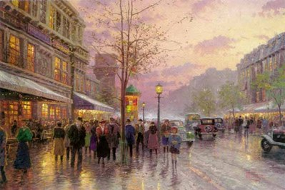 Boulevard Of Lights, Paris – Framed (24 X 36 Canvas)- Signed By The Artist – CanvasLithograph – Limited Edition – 2950S/N – 24x36