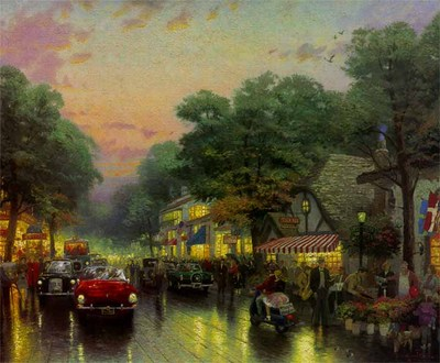 Carmel, Dolores Street And The Tuck Box Tea Room (20 X 24 Canvas)- Signed By The Artist – CanvasLithograph – Limited Edition – 980S/N – 20x24