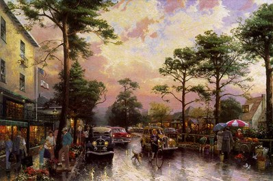 Carmel, Ocean Avenue On A Rainy Afternoon (18 X 27 Canvas)- Signed By The Artist – CanvasLithograph – Limited Edition – 935S/N – 18x27 –