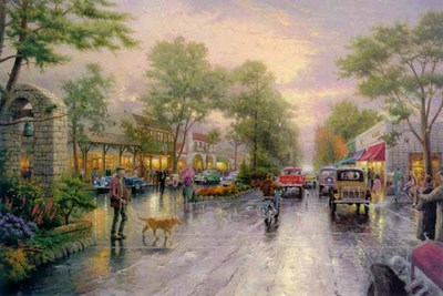 Carmel, Sunset On Ocean Avenue (28 X 42 Canvas)- Signed By The Artist – CanvasLithograph – Limited Edition – 4950S/N – 28x42