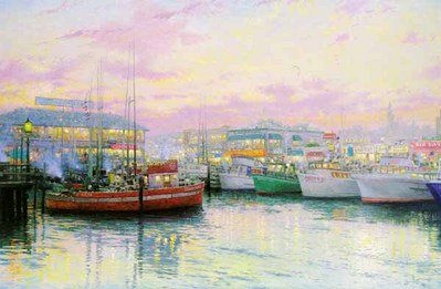Fisherman's Wharf, San Francisco – Framed (24 X 36 Canvas)- Signed By The Artist – CanvasLithograph – Limited Edition – 2650S/N – 24x36