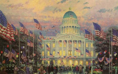 Flags Over The Capitol (18 X 27 Canvas)- Signed By The Artist – CanvasLithograph – Limited Edition – 980S/N – 18x27