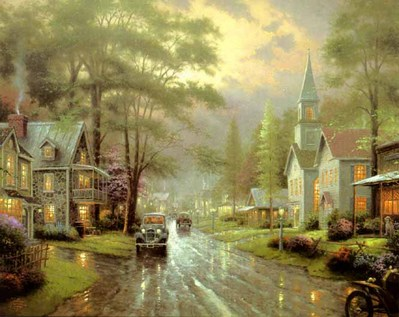 Hometown Evening (24 X 30 Canvas)- Signed By The Artist								 – Canvas Lithograph – Limited Edition – 2950 S/N – 24 x 30
